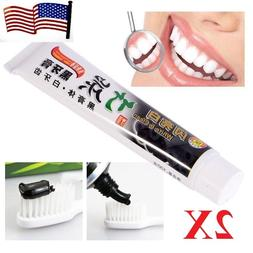 2x  Charcoal Teeth Whitening Black Toothpaste Removes Stain