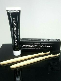 Charcoal Toothpaste Teeth Whitening With 2 Bamboo Dental Too