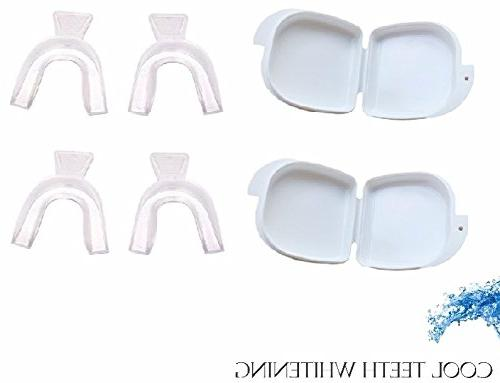 Cool Whitening 4 Trays in 2 Storage Cases Custom Upper Bleaching Thermoform Mouth Guards