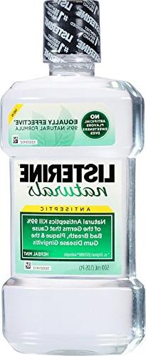 Listerine Naturals Antiseptic Adult Mouthwash, Herbal Mint,