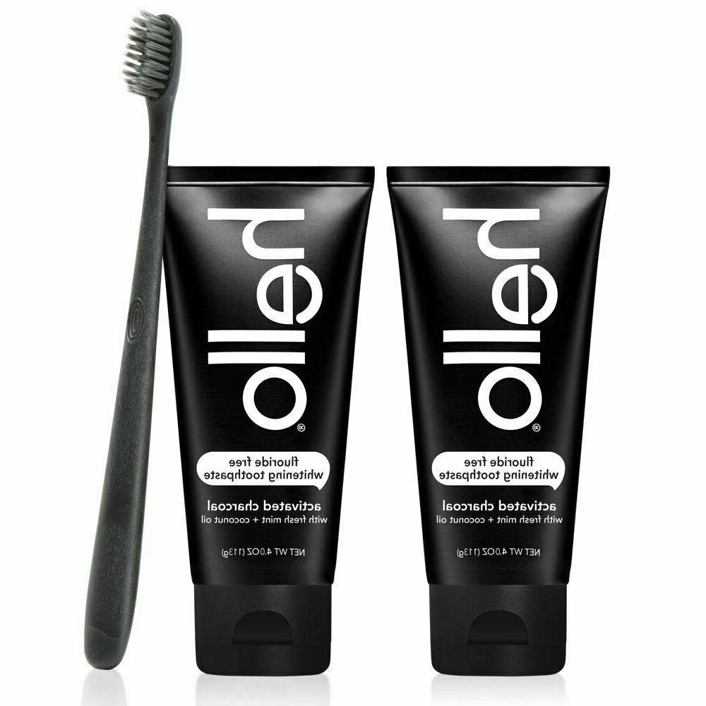 hello 2pk activated charcoal teeth whitening fluoride