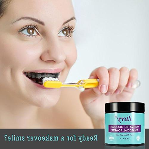 Teeth Whitening Powder ITERY Coconut Charcoal for Denture Whitening Smile Teeth
