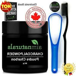 Natural Teeth Whitenin Activated Charcoal Powder Toothbrush