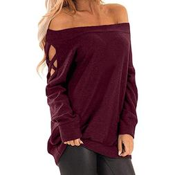 ANJUNIE Women Off The Shoulder Pullover Calsual Sweatshirt L