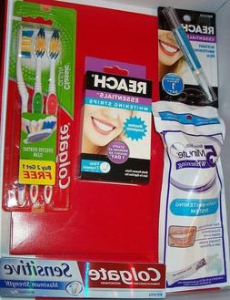 White Teeth: Gel & Tray+ 24 Strips+Pen +3 toothbrushes & Col